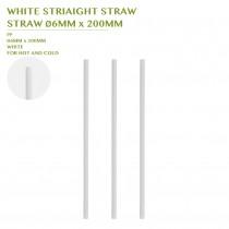 PRE-ORDER WHITE STRIAIGHT STRAW  STRAW Ø6MM x 200MM