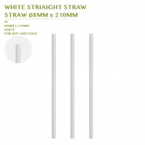 PRE-ORDER WHITE STRIAIGHT STRAW Ø8MM x 210MM