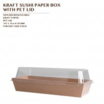 KRAFT SUSHI PAPER BOX WITH  PET LID 900 SET/CTN