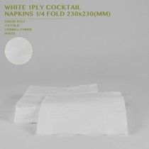 PRE-ORDER WHITE 1PLY COCKTAIL  NAPKINS 1/4 FOLD 230x230MM 250PCS/24PKTS/CTN