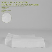 PRE-ORDER WHITE 2PLY COCKTAIL  NAPKINS 1/4 FOLD 230x230MM 250PCS/24PKTS/CTN