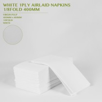 WHITE 1PLY AIRLAID NAPKINS  1/8FOLD 400MM 50PCS/12PKTS/CTN